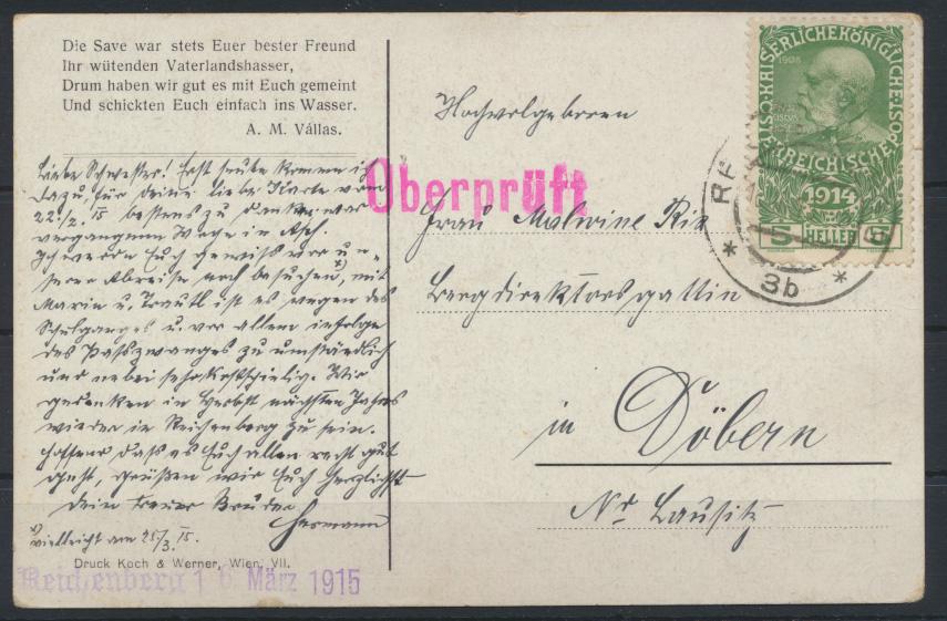 Ansichtskarte Zensur Reichenberg Böhmen Österreich 1915 nach Döbern 0