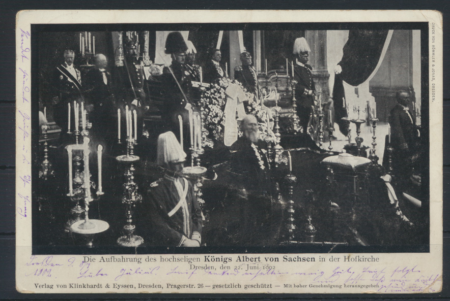 Ansichtskarte Aufbahrung hochseligen Königs Albert v. Sachsen Hofkirche Dresden 0