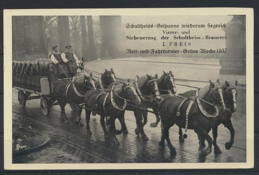 Ansichtskarte Bier Brauerei Schultheiss Reklame Pferde Reit + Fahrturnier Berlin 0