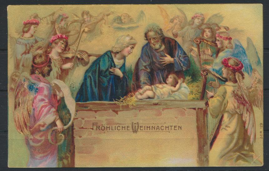 Glückwunsch Ansichtskarte Weihnachten Jesuskind Engel gelaufen 1907 in Frintrop 0
