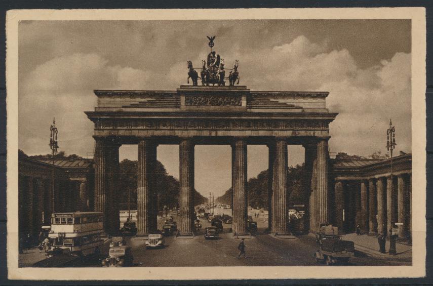Ansichtskarte Berlin Brandenburger Tor Autos SST Charlottenburg Ausstellung  1