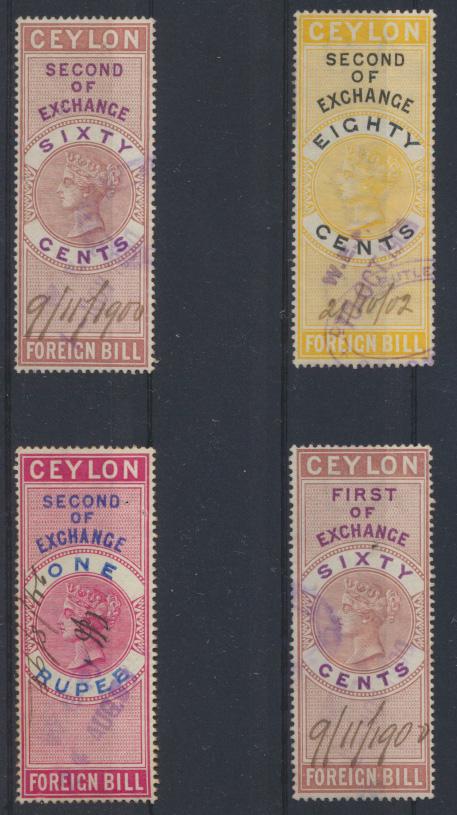 Victoria Ceylon Sri Lanka Lot 4 Stempelmarken Revenue Fiscal 60 cent - ! Rupee  0