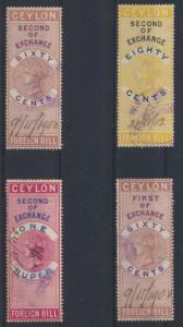 Victoria Ceylon Sri Lanka Lot 4 Stempelmarken Revenue Fiscal 60 cent - ! Rupee