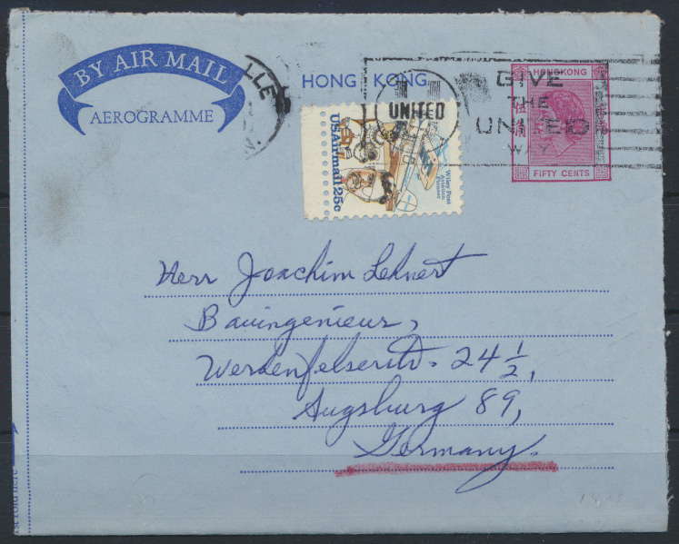 Hongkong USA postal stationery 50c Queen Elisabeth GIVE THE UNITED WAY Augsburg 0