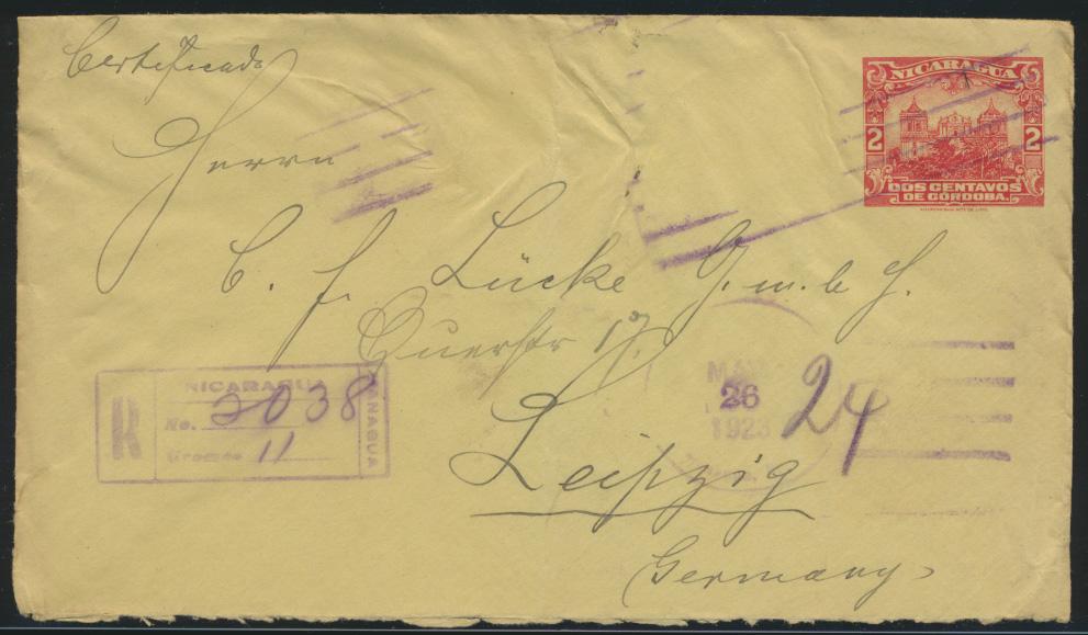 Nicaragua Ganzsache Umschlag postal stationery 2 cent Einschreiben nach Leipzig 0