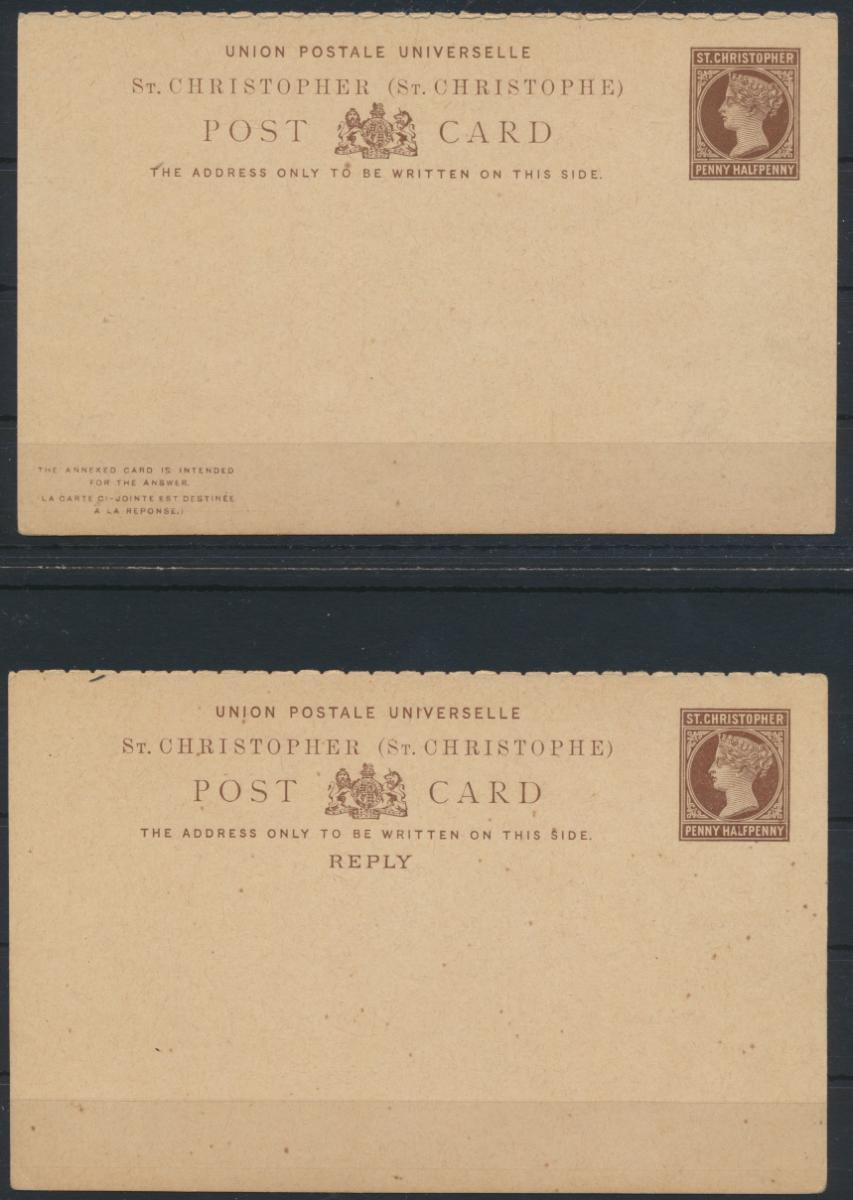 St. Christoph Ganzsache 1 1/2p Victoria Frage Antwort postal stationery Question 0