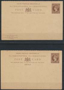 St. Christoph Ganzsache 1 1/2p Victoria Frage Antwort postal stationery Question