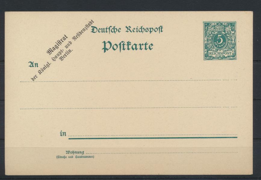 Dt. Reich Ganzsache Zudruck Magistrat der königl. Haupt -u. Residenzstadt Berlin 0