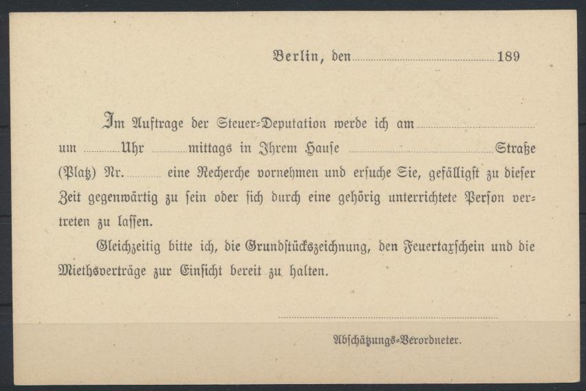 Dt. Reich Ganzsache Zudruck Magistrat der königl. Haupt -u. Residenzstadt Berlin 1
