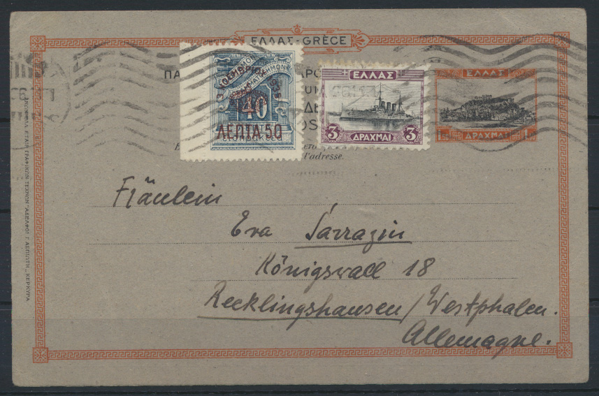 Griechenland Ganzsache P 39 ZUF nach Recklinghausen  0