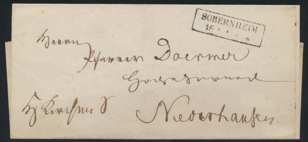 Preussen markenloser Brief mit R2 SOBERNHEIM 1853 0