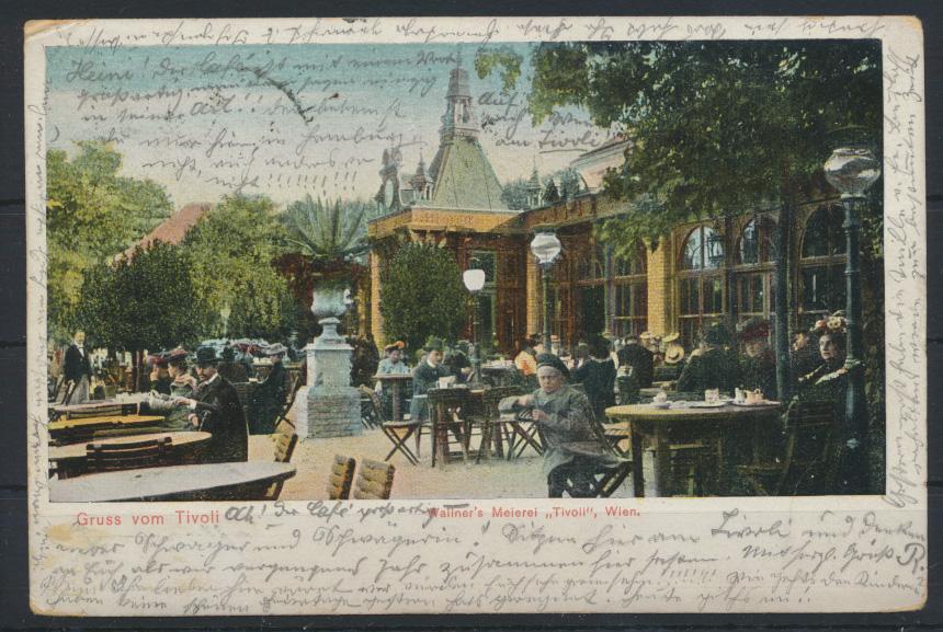 Ansichtskarte Österreich Tivoli Wallners Meiereri Wien 1905 nach Hamburg 0