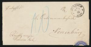 Altdeutschland Baden markenloser Brief Pforzheim 1. nach Neuenburg