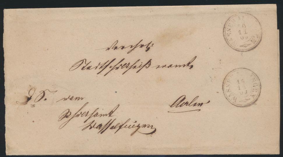 Altdeutschland Württemberg Wasseralfingen markenloser Brief K2 Aalen 0