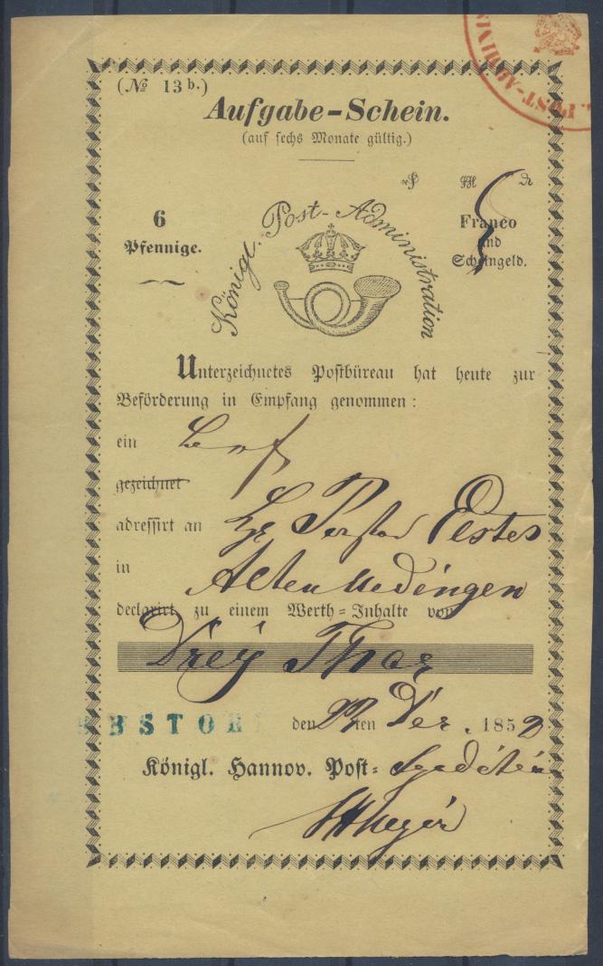 Altdeutschland Hannover Aufgabeschein bl. L1 EBSTORF Königl Post Administration 0