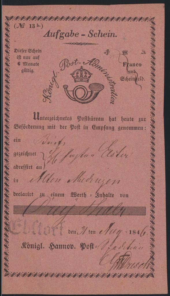 Altdeutschland Hannover Aufgabeschein L1 Ebstorf Königl Post Administration 1846 0