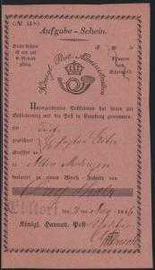 Altdeutschland Hannover Aufgabeschein L1 Ebstorf Königl Post Administration 1846
