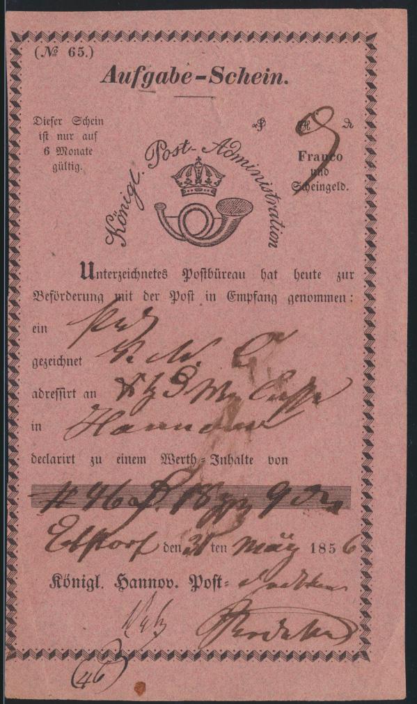 Altdeutschland Hannover Aufgabeschein hs Ebstorf Königl Post Administration 1856 0