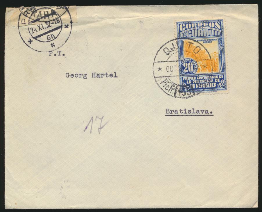 Ecuador Zensur Brief nach Bratislava Slowakei 24.11.1932 0