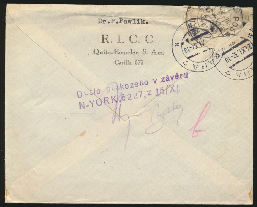 Ecuador Zensur Brief nach Bratislava Slowakei 24.11.1932 1