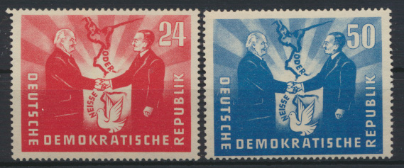 DDR 284-285 deutsch-polnische Freundschaft 1951 postfrisch MNH Kat.-Wert 40,00 0
