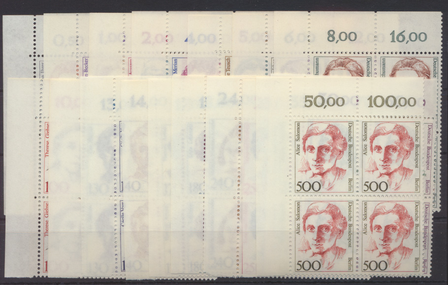 Berlin Frauen kpl17 Werte Viererblock Eckrand Bogenecke oben li Luxus postfrisch 0