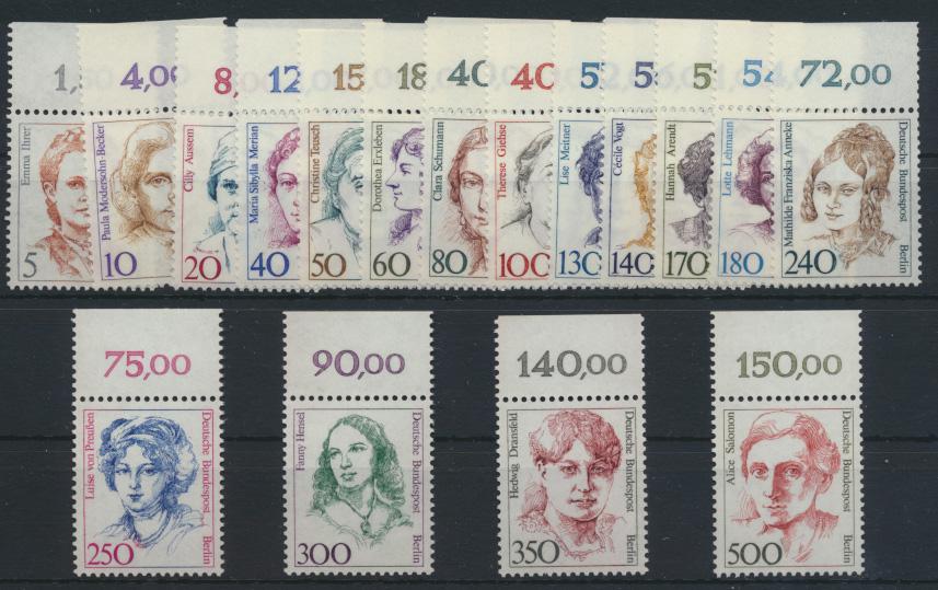 Berlin Frauen komplett 17 Werte vom Oberrand Luxus postfrisch MNH Kat. 70,00++ 0