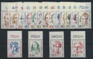 Berlin Frauen komplett 17 Werte vom Oberrand Luxus postfrisch MNH Kat. 70,00++