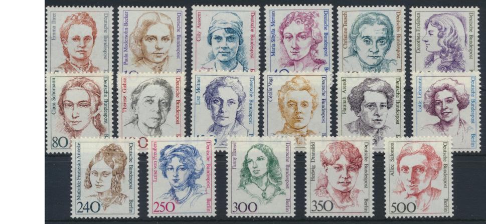 Berlin Frauen komplett 17 Werte Luxus postfrisch MNH Kat.-Wert 70,00 0