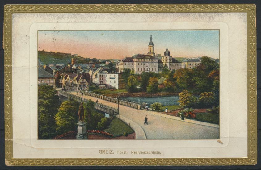 Ansichtskarte Greiz Thüringen Fürstl. Residenzschloß 1922 nach Wintersdorf 0