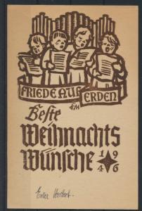 Künstler Karte Weihnachten 1946 sign. Herbert Erter Friede auf Erden selten