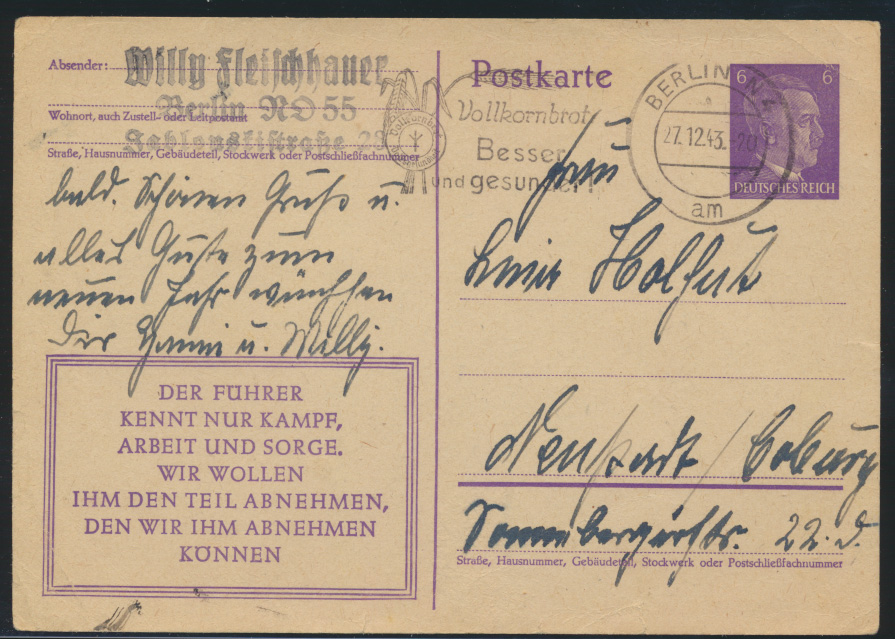 Ganzsache 3. Reich mit Werbestempel Berlin Vollkornbrot 27.12.1943 0