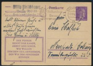 Ganzsache 3. Reich mit Werbestempel Berlin Vollkornbrot 27.12.1943