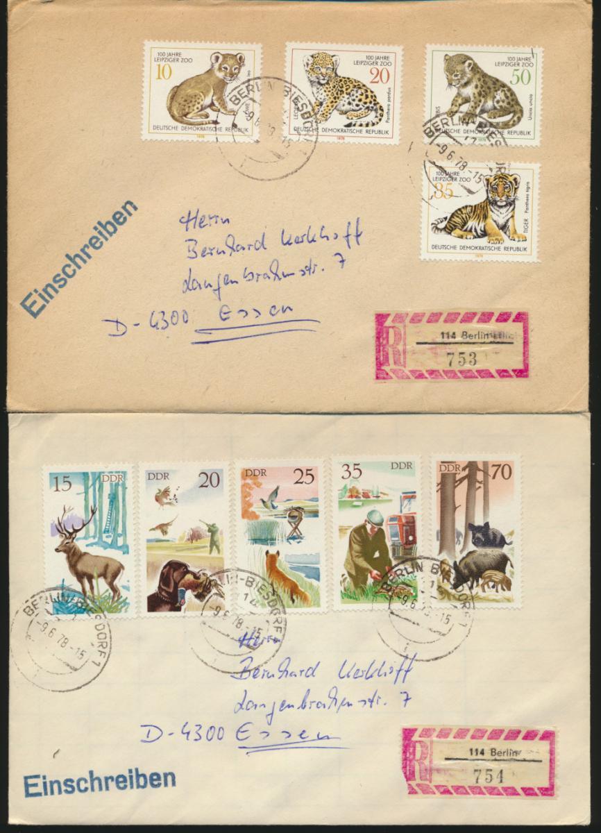 DDR 3 Briefe per Einschreiben mit Speerwerte u.a. Leipziger Zoo 0