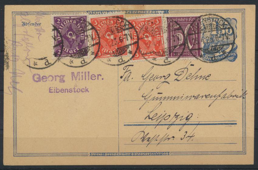 Deutsches Reich Ganzsache Postreiter Infla + ZUF Eibenstock n. Leipzig 25.4.1923 0