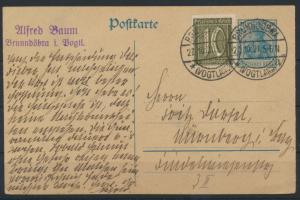 Deutsches Reich Ganzsache Germania Infla + ZUF Brunndöbra Vogtland 27.10.1921