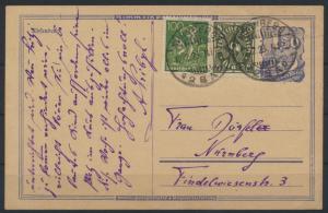 Deutsches Reich Ganzsache Infla Postreiter + ZUF Nürnberg 12.2.1923