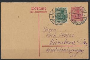 Deutsches Reich Ganzsache Germania + ZuF Antwort Brunndöbra Nürnberg 29.4.1920