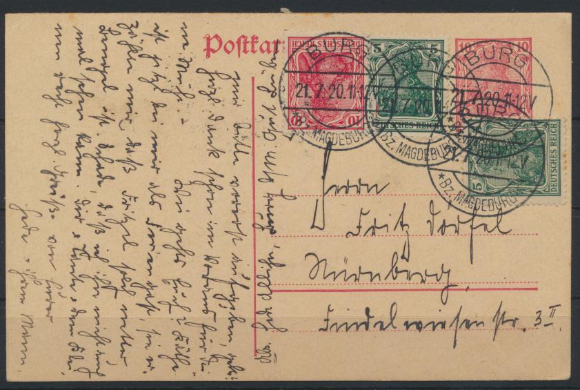 Deutsches Reich Infla Ganzsache Germania + ZuF  Burg nach nürnberg 21.7.1920 0