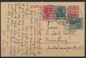 Deutsches Reich Infla Ganzsache Germania + ZuF  Burg nach nürnberg 21.7.1920