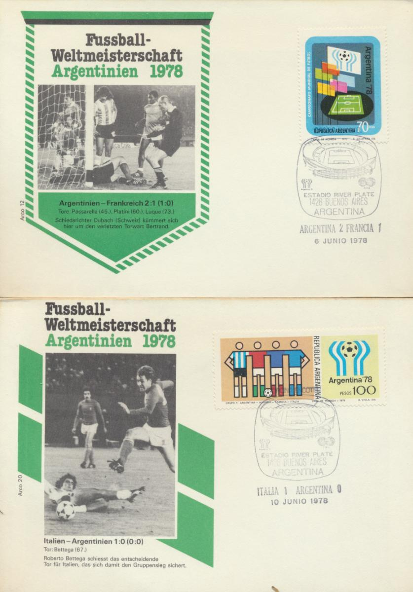 Argentinien 4 Briefe Fußball verschied Länderspiele Argentinia 4 Covers Fottball 0