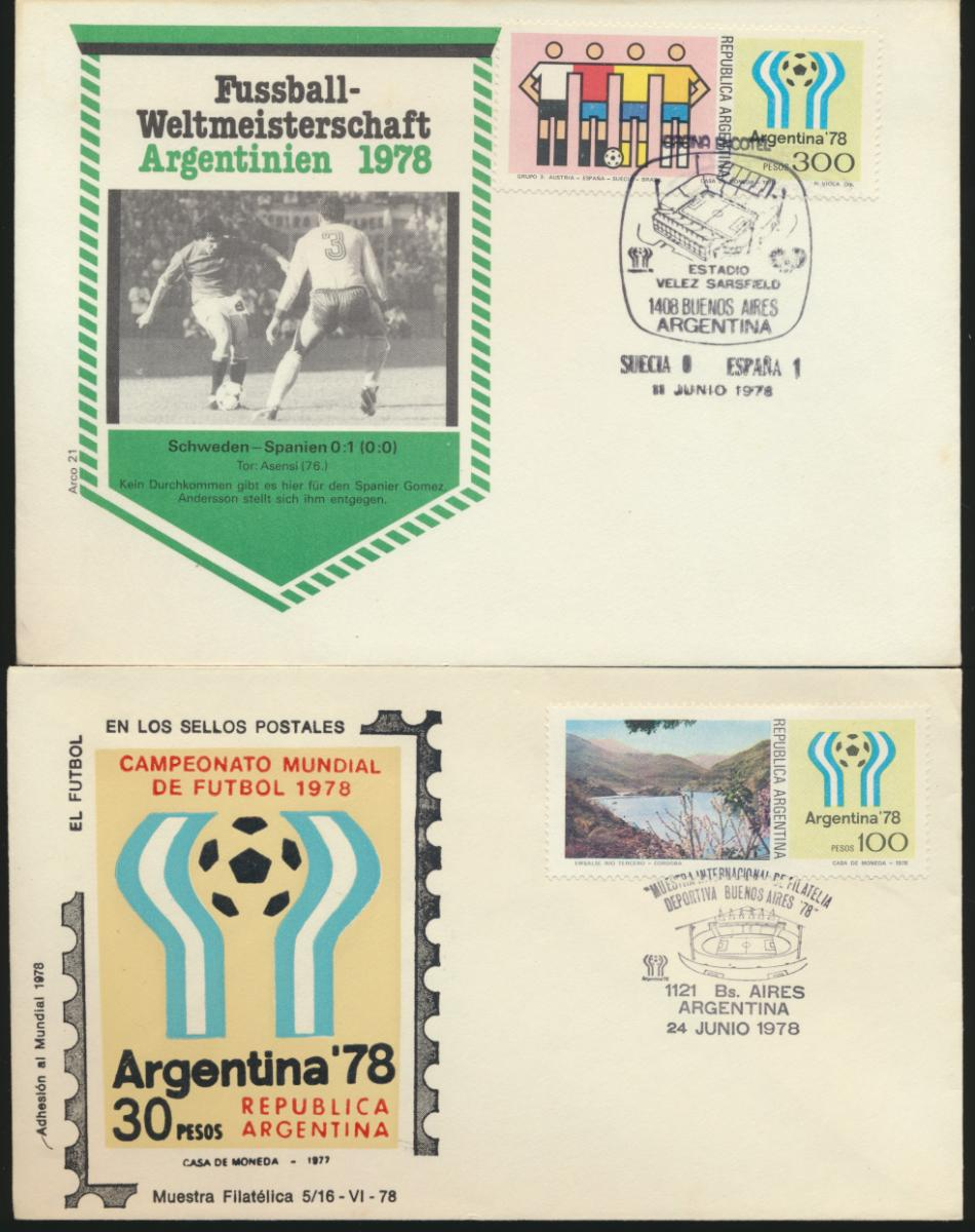Argentinien 4 Briefe Fußball verschied Länderspiele Argentinia 4 Covers Fottball 1