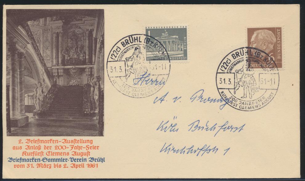Bund Brief MIF Heuss + Brandenburger SST Brühl 200 Jahre Kurfürst+ Ausstellung   0