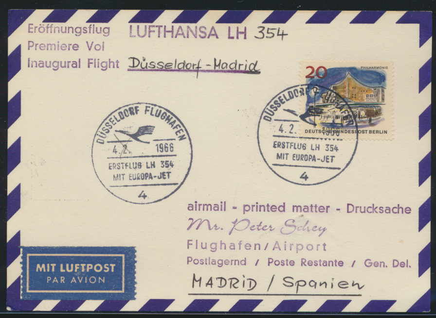 Bund Flugpost Lufthansa LA 354 Eröffnungsflug Düsseldorf Madrid Spanien 0