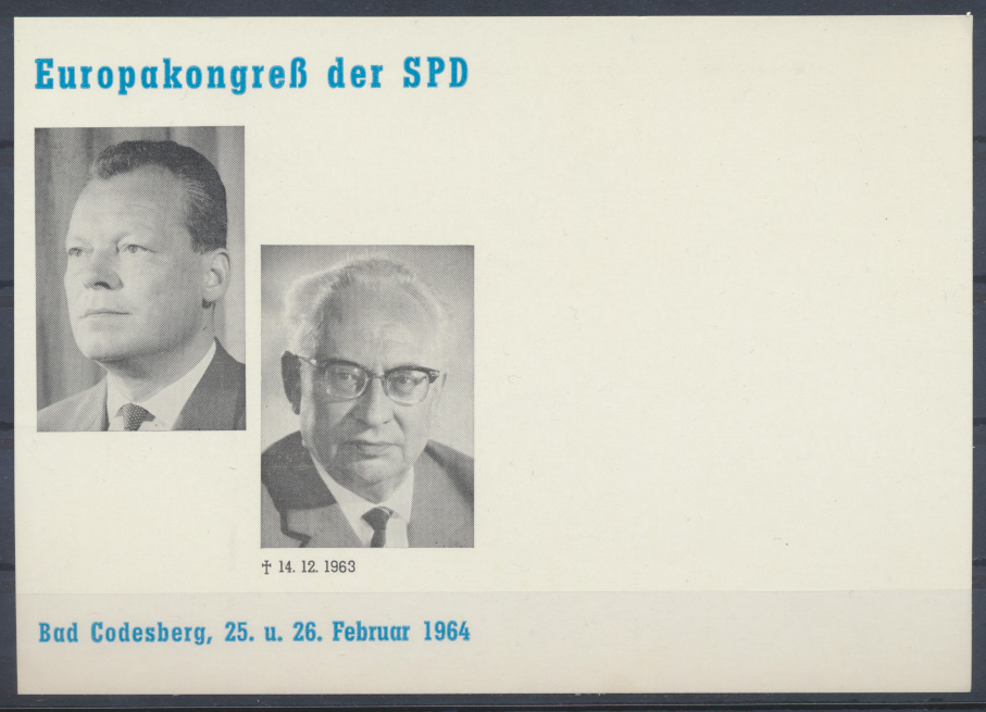 Bund Sonderkarte SPD Europakongreß Willy Brand Bad Godesberg Politik 0