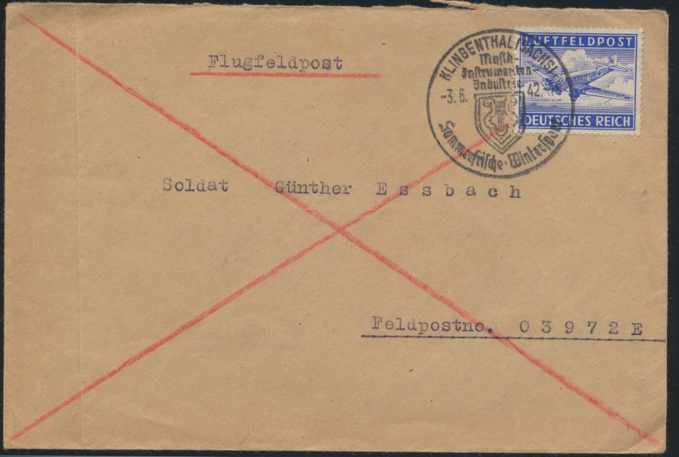 Reich Luftfeldpost Brief mit SST Klingenthal Sachsen Wintersport FP-Nr. 03972 E 0