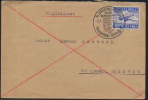 Reich Luftfeldpost Brief mit SST Klingenthal Sachsen Wintersport FP-Nr. 03972 E