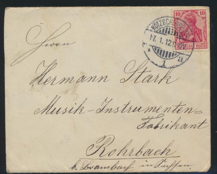 Dt. Reich Brief Kötzschenbroda an Stark Musikinstrumenten Fabrikant Rohrbach  0