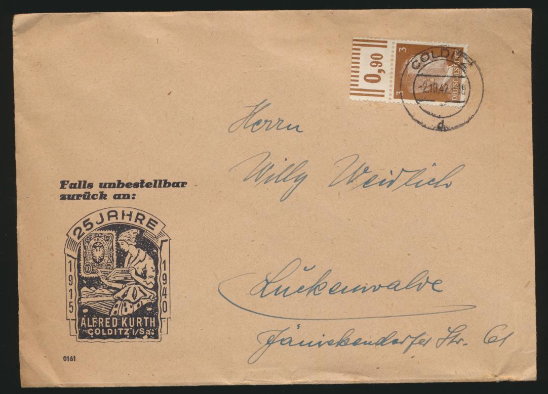 D Reich Brief EF Oberrand auf Werbeumschlag Kurth Philatelie Colditz Luckenwalde 0
