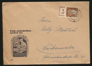D Reich Brief EF Oberrand auf Werbeumschlag Kurth Philatelie Colditz Luckenwalde